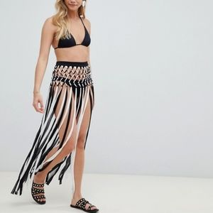 ASOS Design Sling Fringe Knotted Beach Sarong-NEW!